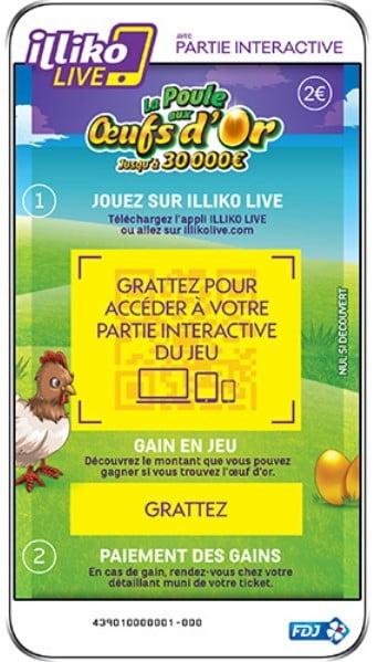 La poule aux Œufs d'or Illiko Live partie numerique du ticket à gratter