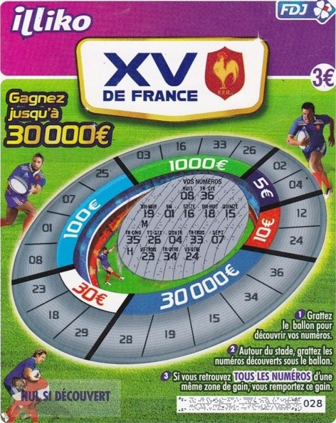 Aperçu du ticket de grattage XV de France de 2011