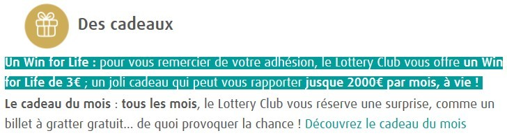 promotion Lottery Club avec Win for Life offert