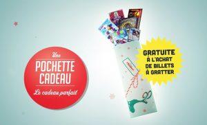 Aperçu de la pochette cadeau spéciale Noël et jeux de grattage Loterie Nationale belge