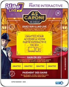 Partie interactive et ticket de grattage sur As Capone