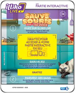 Partie interactive et ticket de grattage sur Sauve Souris