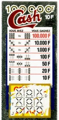 Vue du premier ticket a gratter en France Cash 100 000 francs