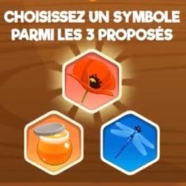 Les symboles à choisir sur le jeu maxi ruche d'or