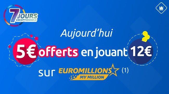5 euros offerts en jouant à Euro Millions 7 Jours Exceptionnels