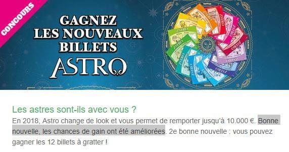 Information de la loterie nationale sur le concours Astro