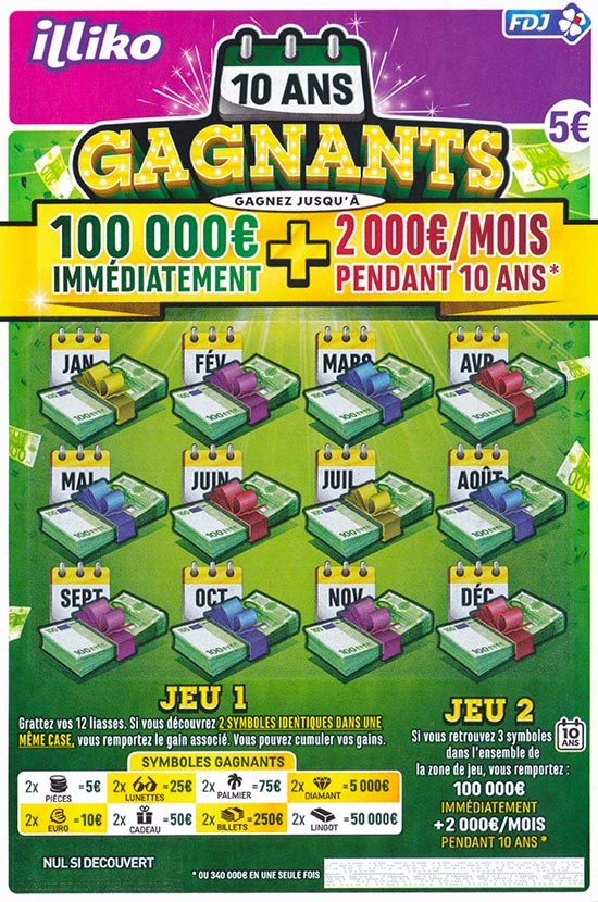 Ticket de grattage Illiko 10 Ans Gagnants