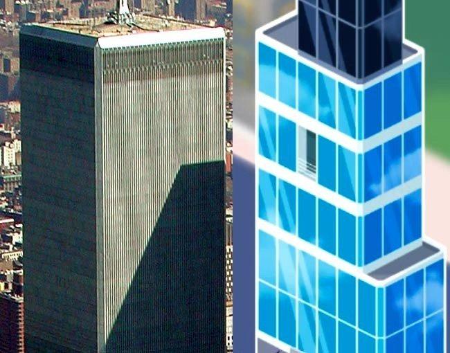 Comparaison World Trade Center et jeu Monster Win