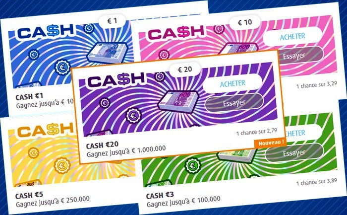 Les tickets de grattage CASH loterie national belge