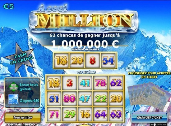 Jeu de grattage Cool Million