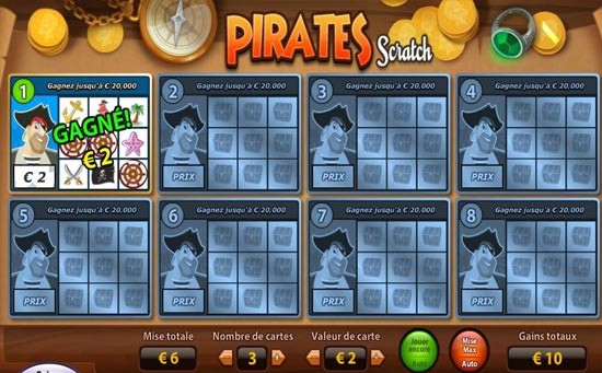 Jeu de grattage digital Pirates Scratch