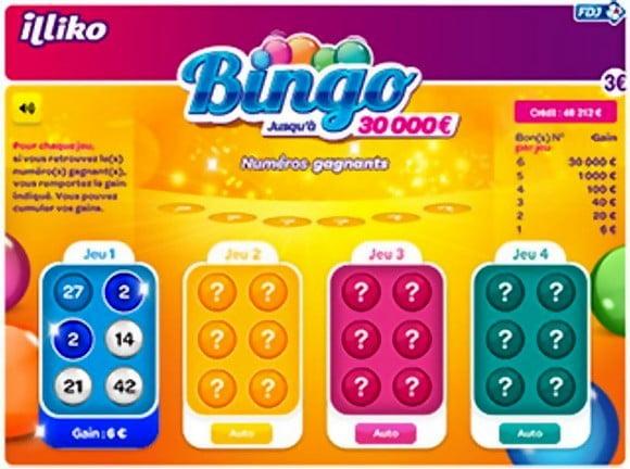 Bingo à gratter Illiko FDJ