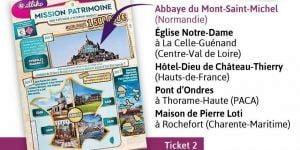 Liste des monuments visibles sur les tickets Mission Patrimoine