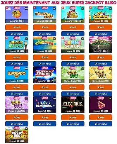 Maximum de jeux Super Jackpot