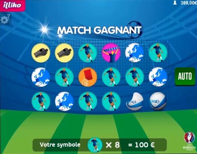 Apparition des symboles sur Match Gagnant