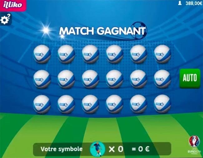 Une partie de jeu sur Match Gagnant