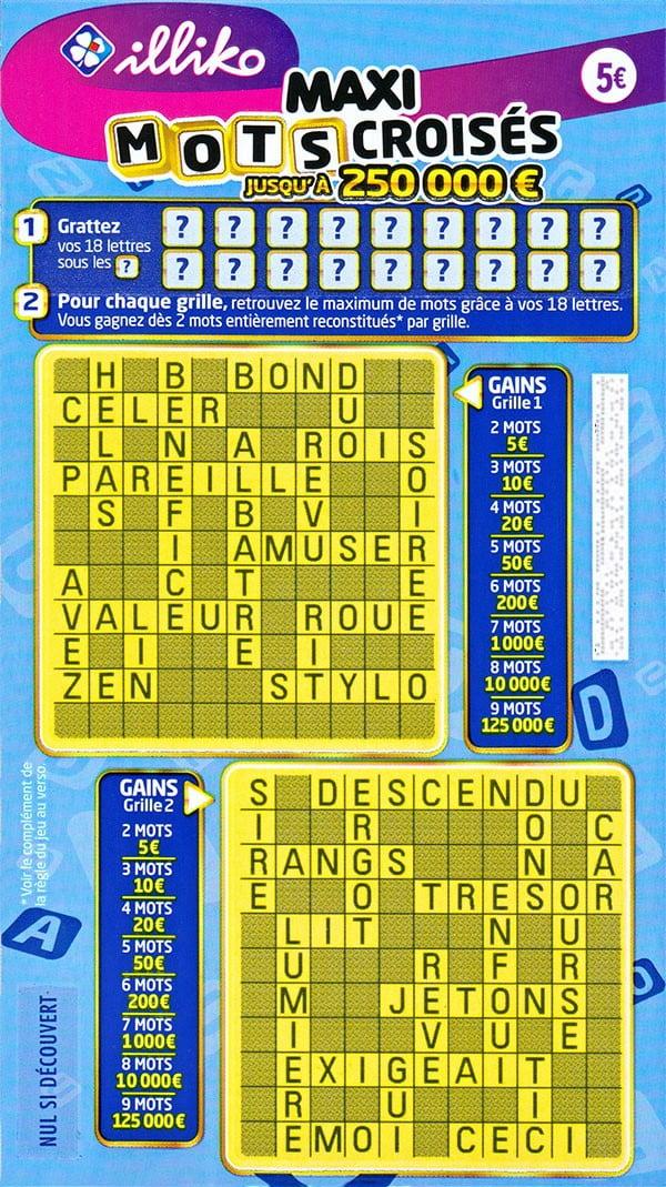 Ticket de jeu Maxi Mots Croisés