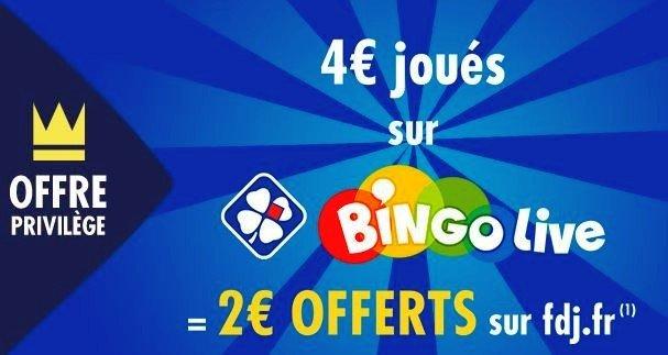 2 euros offerts sur le bingo Live