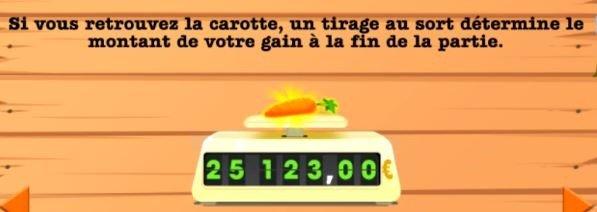 Affichage du prix de la carotte