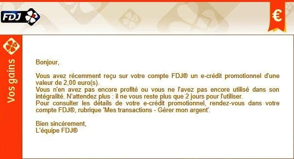 Attention vous allez perdre vos e-crédits FDJ