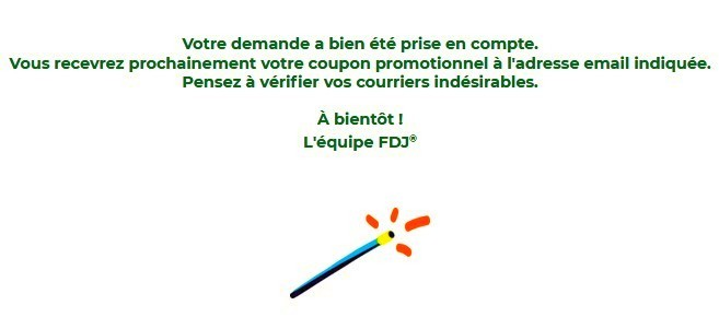 Confirmation de la demande de son coupon promo Parions Sport