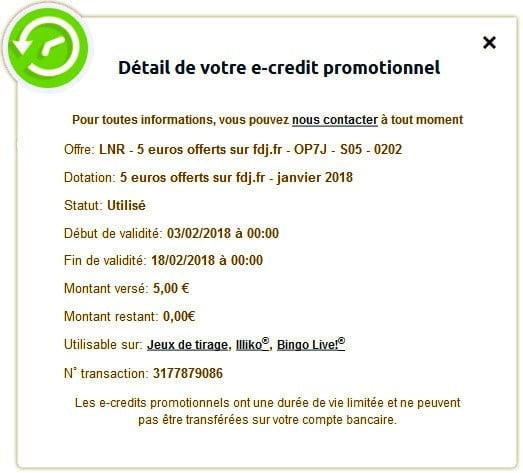 Détails des e-crédits promotionnels FDJ