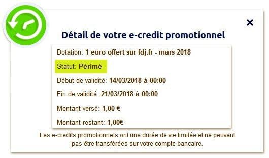 Les e-crédits FDJ perdus