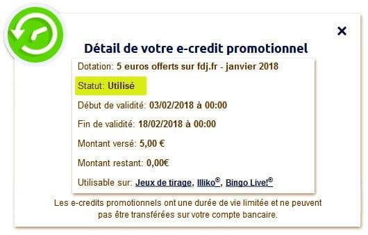 Les e-crédits FDJ utilisés