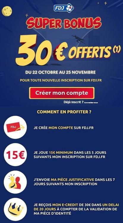 Super bonus des 30 euros offerts FDJ