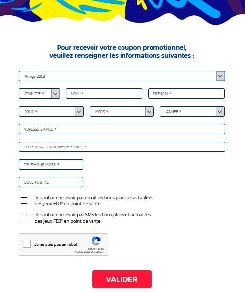 formulaire pour obtenir le coupon promotionnel Amigo 2018