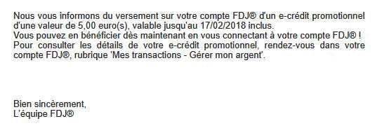 réception des e-crédits FDJ