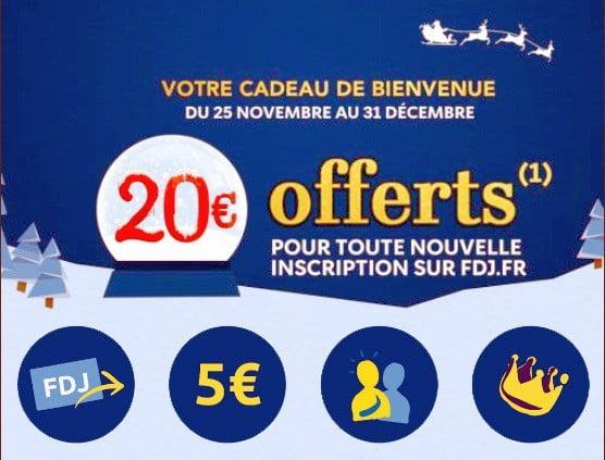 20 € offerts e-crédits FDJ décembre 2018