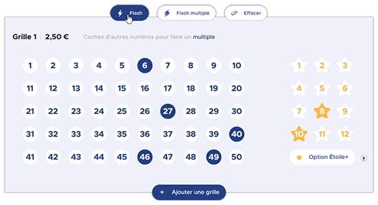 Choisir les numéros pour le Méga Jackpot EuroMillions My Million