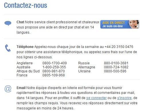 Le service client de The Lotter
