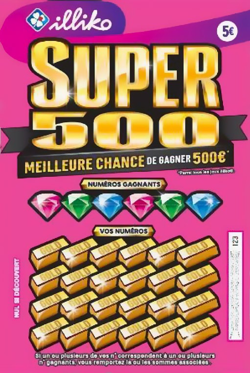 Ticket de grattage expérimental Super 500