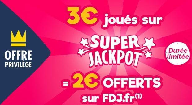Offre FDJ pour 2 € offerts
