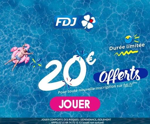 promo estivale FDJ 20 € offerts