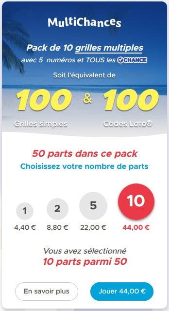 Utiliser le pack MultiChances pour 100 grilles et 100 codes loto