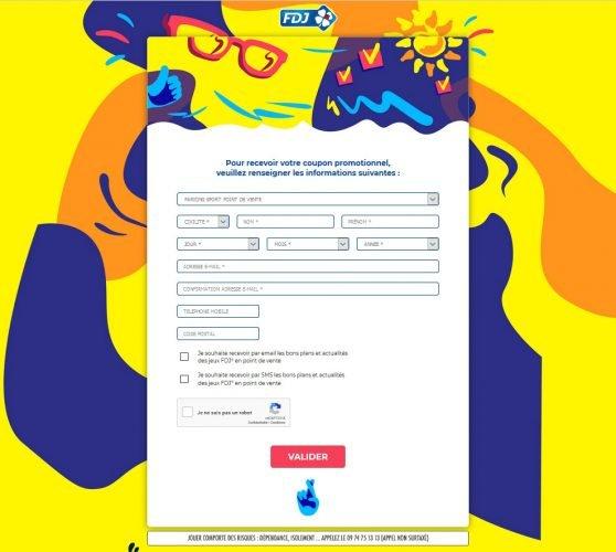 Formulaire pour obtenir coupon promotionnel Parions Sport FDJ