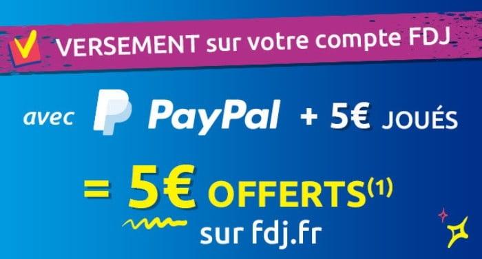 crédits offerts avec PayPal sur compte joueur FDJ