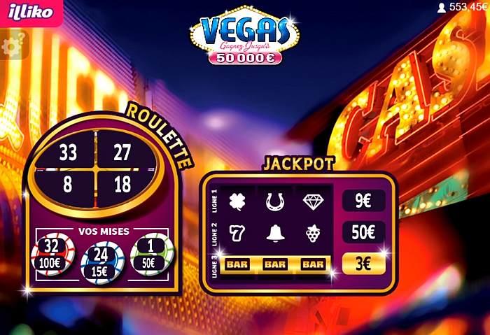 3 euros gagnés sur le jeu jackpot de Vegas