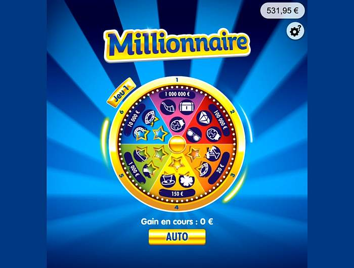 Grattage jeu N1 sur Millionnaire