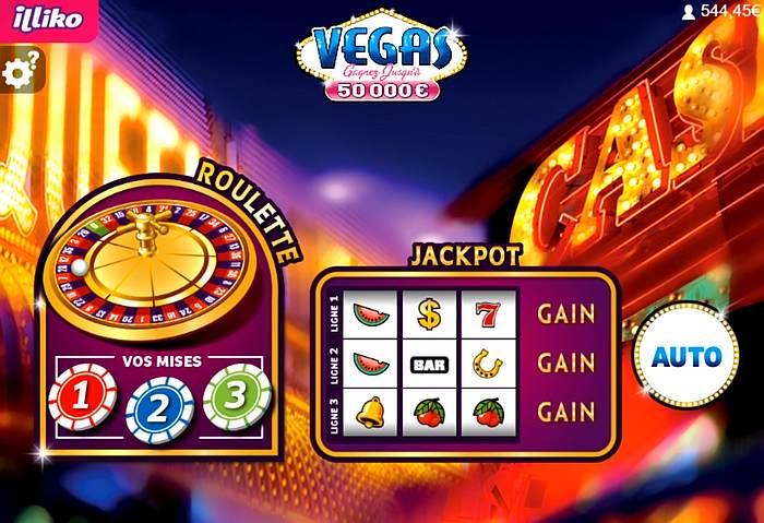 la roulette et le jackpot à gratter sur le ticket Vegas