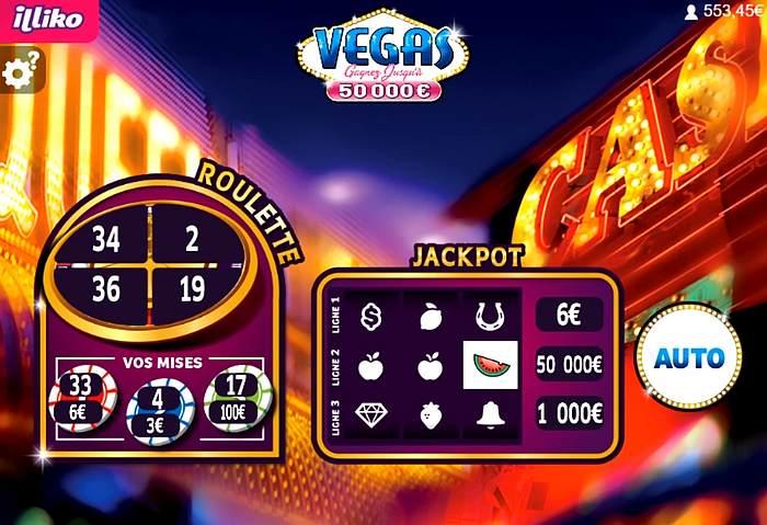 le jackpot de 50 000 euros sur Vegas