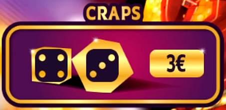 zone de jeu Craps gagnant