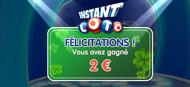 2 euros gagnés à Instant Loto avec le jeu bonus