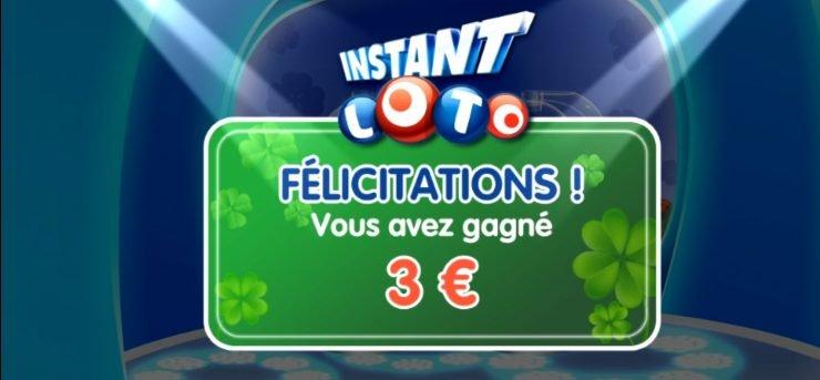 3 euros gagnés a Instant Loto