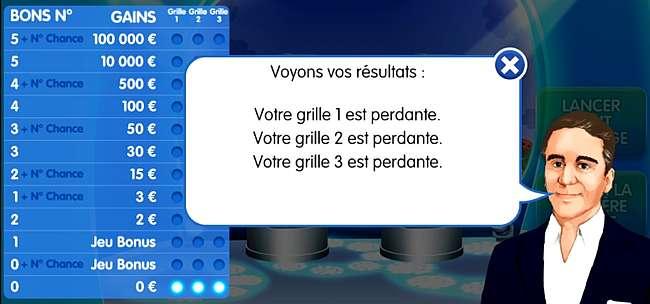 affichage des résultats sur le jeu de loto