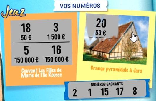 Identification des numéros gagnants sur le 2e jeu