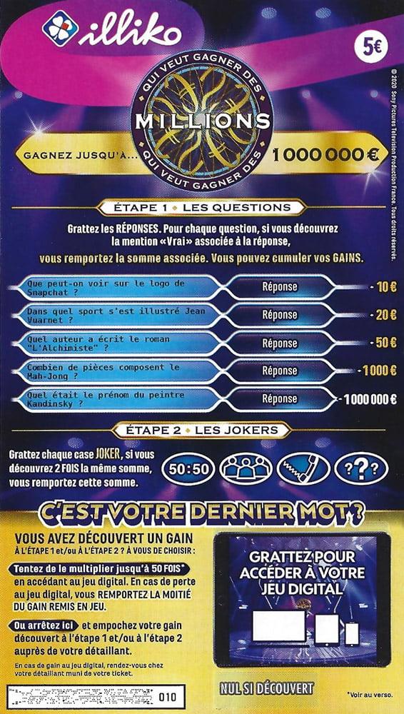Le ticket FDJ Qui Veut Gagner des Millions